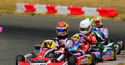 Thomas Nepveau leads a train of karts