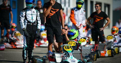 Lorenzo Travisanutto stands next to his Rosberg Racing Kart Republic ride