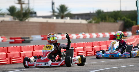Ryan MacDermid pumps his fist at the finish of Senior ROK 2018 ROK The Rio