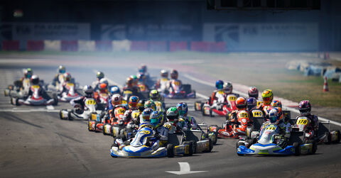 The green flag start to the OK final in Sarno at the 2020 FIA Karting European Championship Round 2