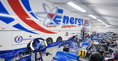 Inside the Energy Kart factory tent