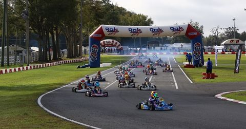 Mini ROK race start with SCR kart leading