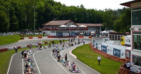 Karts line up on the pre-grid in Ampfing Germany