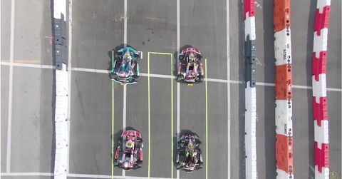 Drone footage over karts
