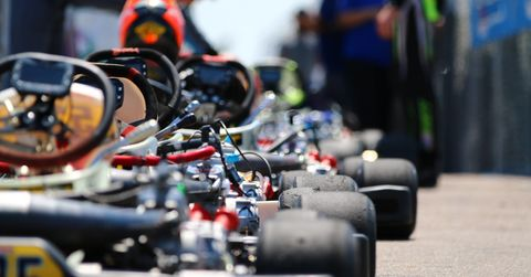 ROK Cup karts line up to weigh